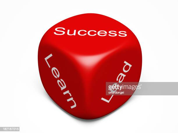 A red dive with success concept labels isolated on white