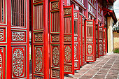 Red doors in Hue's Imperial City (Citadel), Vietnam