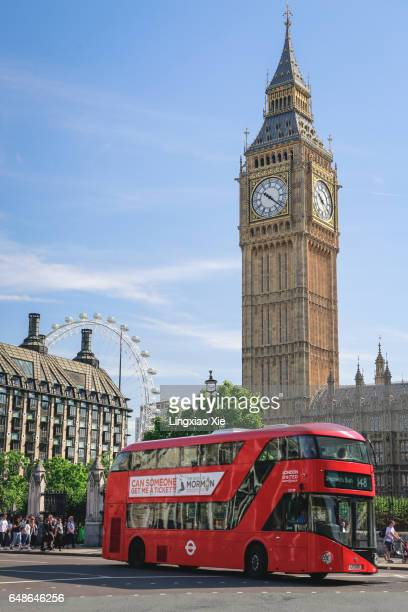 Red Double Decked Bus with Big Ben in London