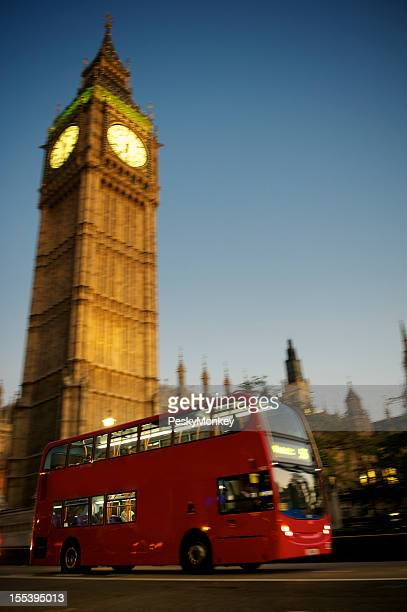 Red Double Decker Bus Drives by Big Ben London