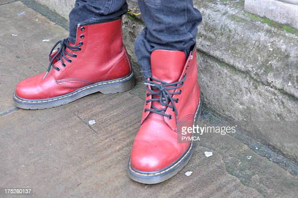 Red Dr Marten boots Autumn London Fashion Week 2009