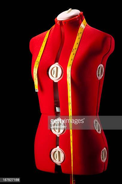Red Dress Fitting Mannequin Torso Form With Yellow Tape Measure