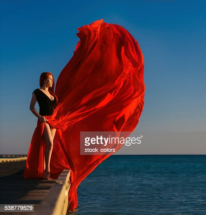 red dress in the wind