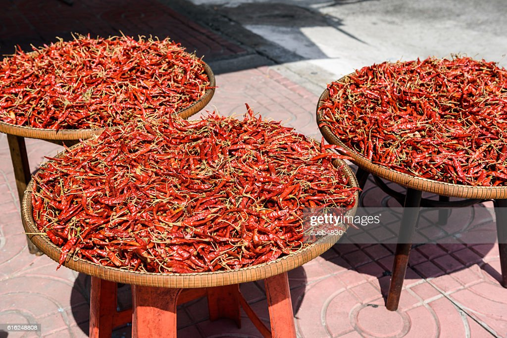red dried chilli pepper : Stock Photo