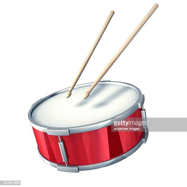 Red drum with drumsticks on a white background