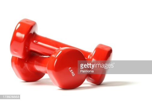 Red dumbbell weights