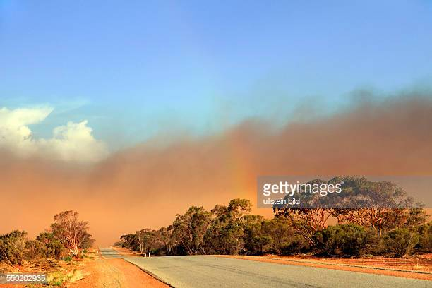 Red dust storm in Australian Outback Mukinbudin Western Australia