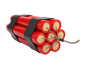 Red Dynamite isolated on white background. 3d illustration.