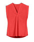 Red elegant woman summer sleeveless office blouse isolated on white