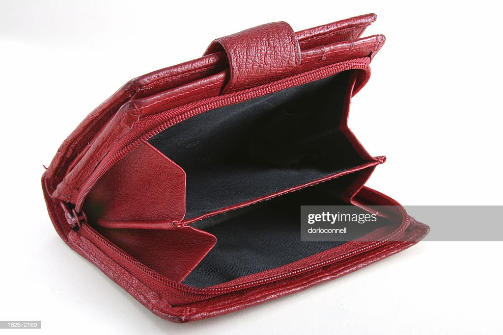 red empty purse