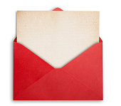 Rede envelope with old paper, isolated, clipping path.