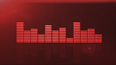 red equalizer bars 3d render