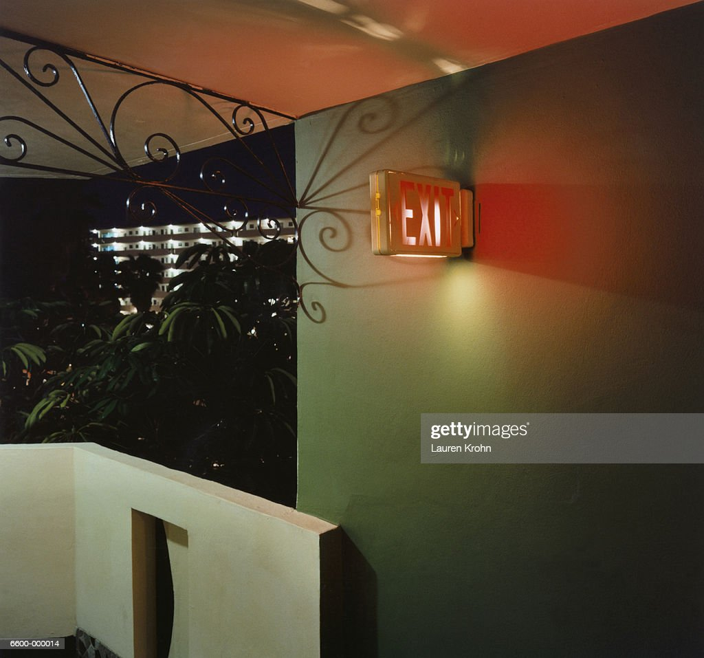 Red Exit Sign on Balcony : Stock Photo