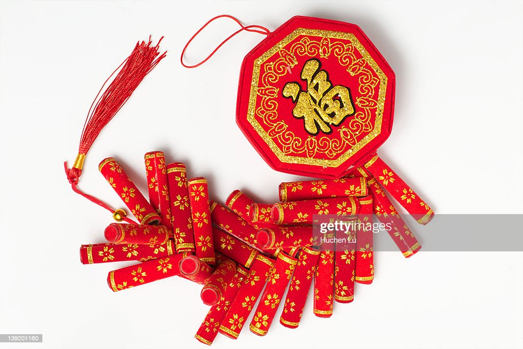 Red fabric firecrackers : Stock Photo