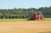 red shabby farmhouse on a field