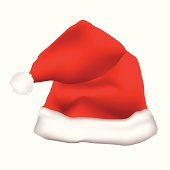 red father christmas hat with white fur trim