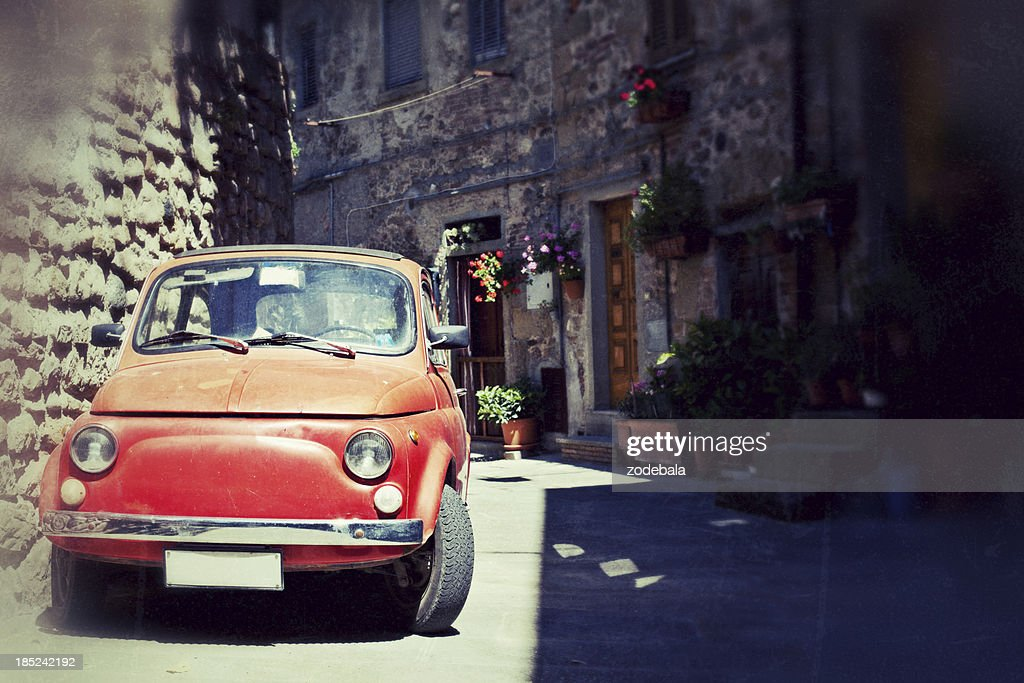 'Red Fiat Cinquecento, Typical Italian Car'