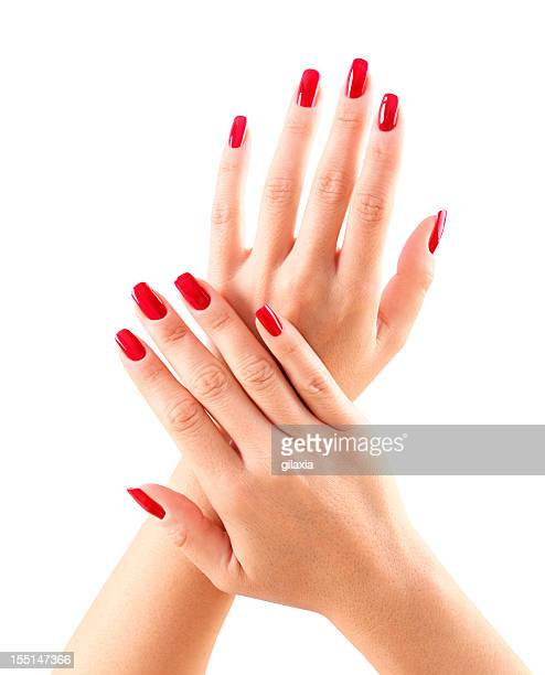 Red fingernails.