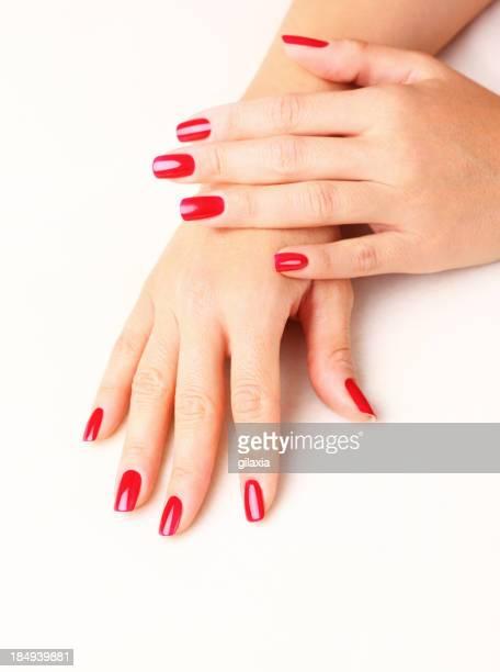 Red fingernails,closeup.