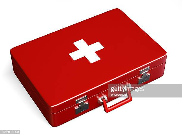Red first aid case with clipping path