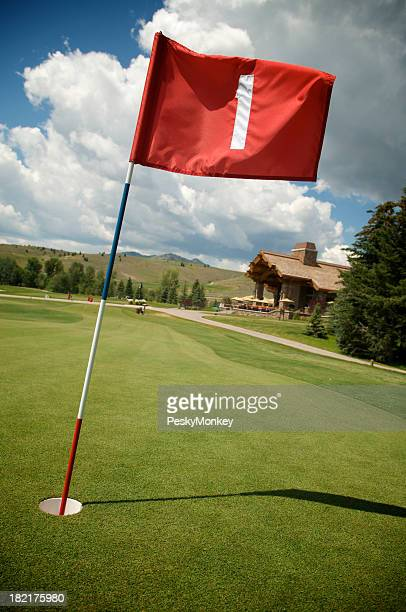 Red Flag First Hole on Green Golf Course
