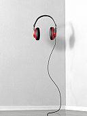 Red Floating Stereo Headphones