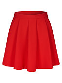 Red flounce skirt on invisible mannequin isolated on white