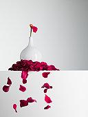 Red flower petals falling from stem in vase