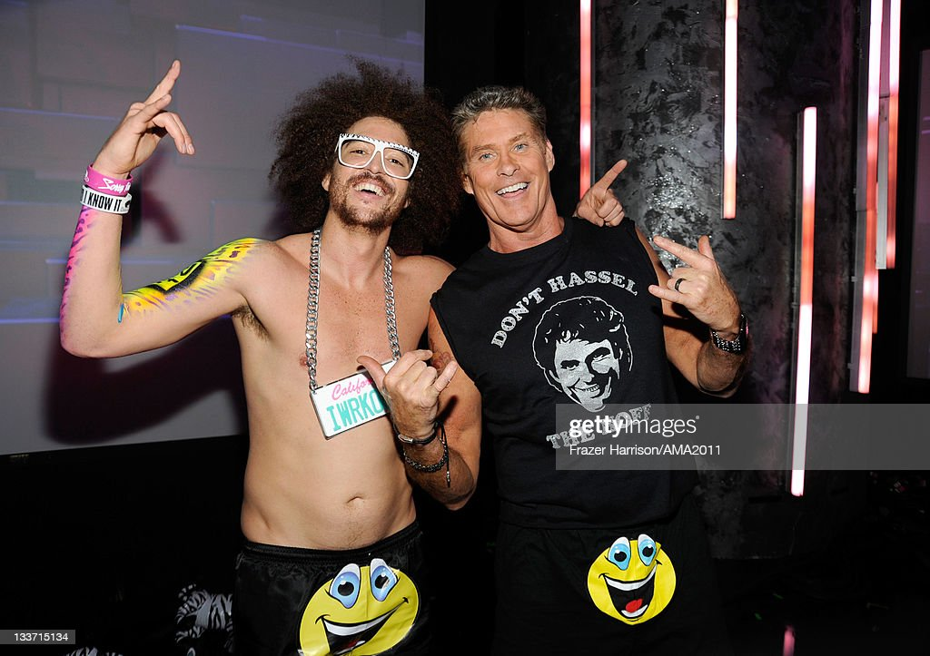Red Foo (L) and actor David Hasselhoff pose backstage at the 2011 American Music Awards held at Nokia Theatre L.A. LIVE on November 20, 2011 in Los Angeles, California.