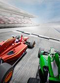 Red Formula One Car Winning a Race