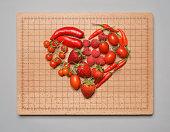 Red fruit & veg arranged in a heart shape