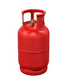 Red Gas Cylinder isolated on white background. 3D render