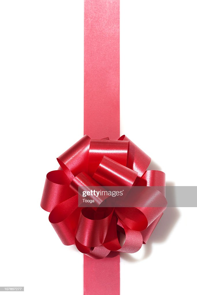 Red gift bow and ribbon : Stock Photo