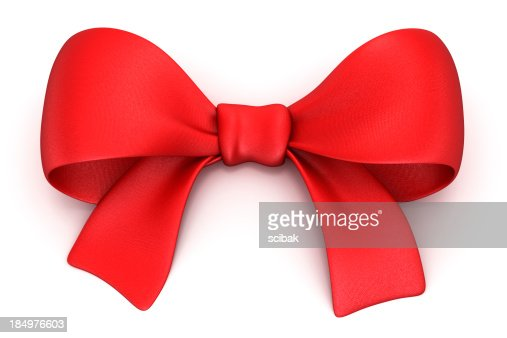 Red gift bow isolated on white with clipping path