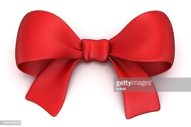 Rouge cadeau bow isolé sur blanc avec un Tracé de détourage