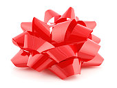 A red gift bow on a white background.