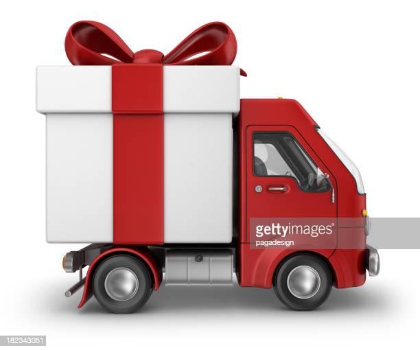 赤いギフトボックスの配送車