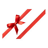 Red, Ribbon - Sewing Item, Tied Bow, Gift, Tied Knot, cut out