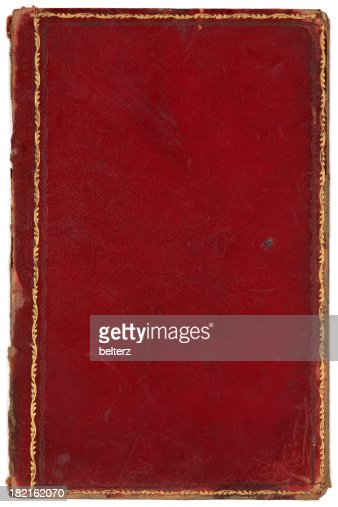 Cookbook Red Checkered Cover ~ Red gold edged book cover stock photo getty images