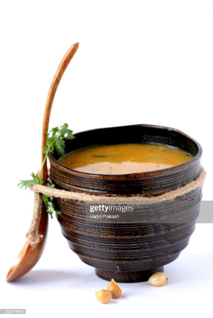 Red gram lentil soup / Masoor ki dal : Stock Photo