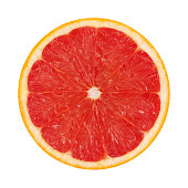 Red Grapefruit Portion On White