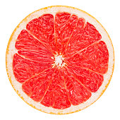 red grapefruit slice, clipping path, isolated on white background