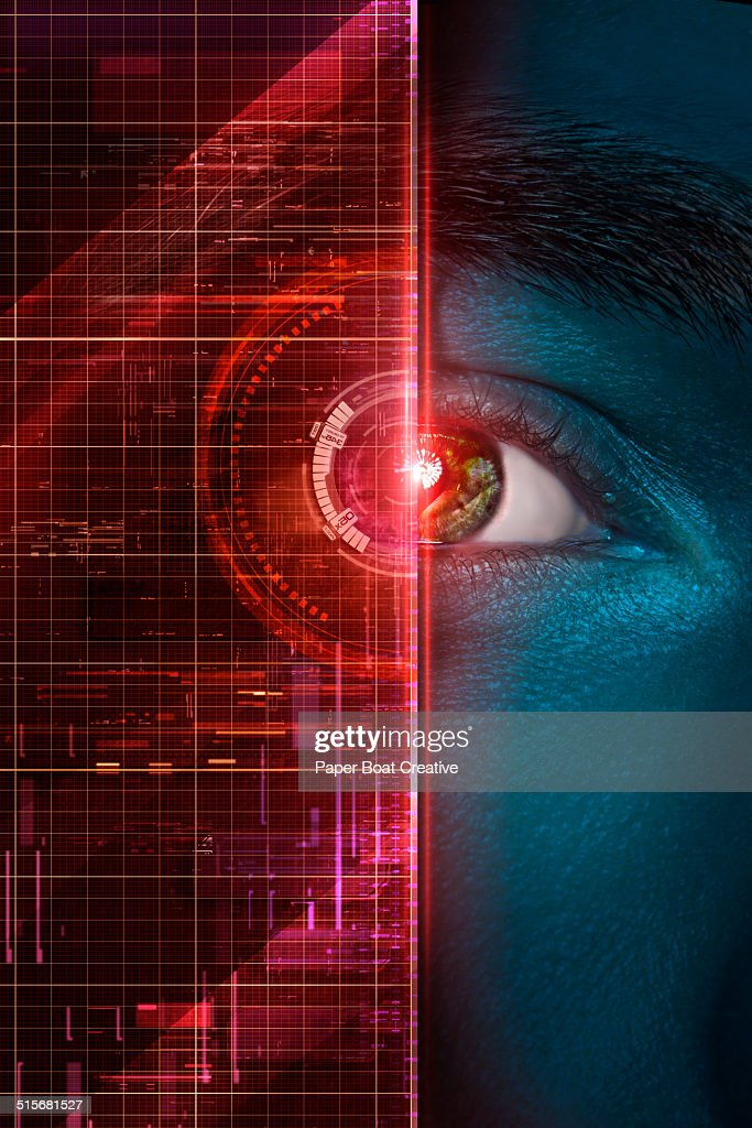 Red graphics over a man's iris and pupil