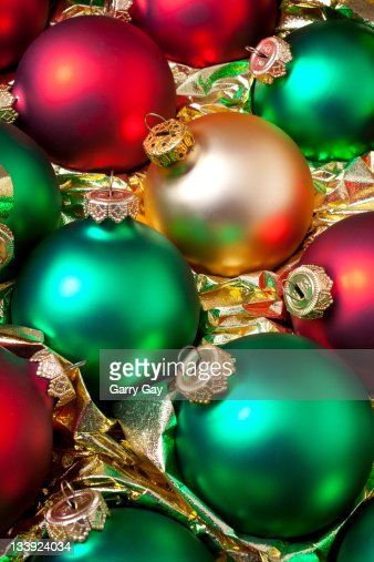 Christmas Ornaments Red And Gold : Red green and gold christmas ornaments stock photo getty