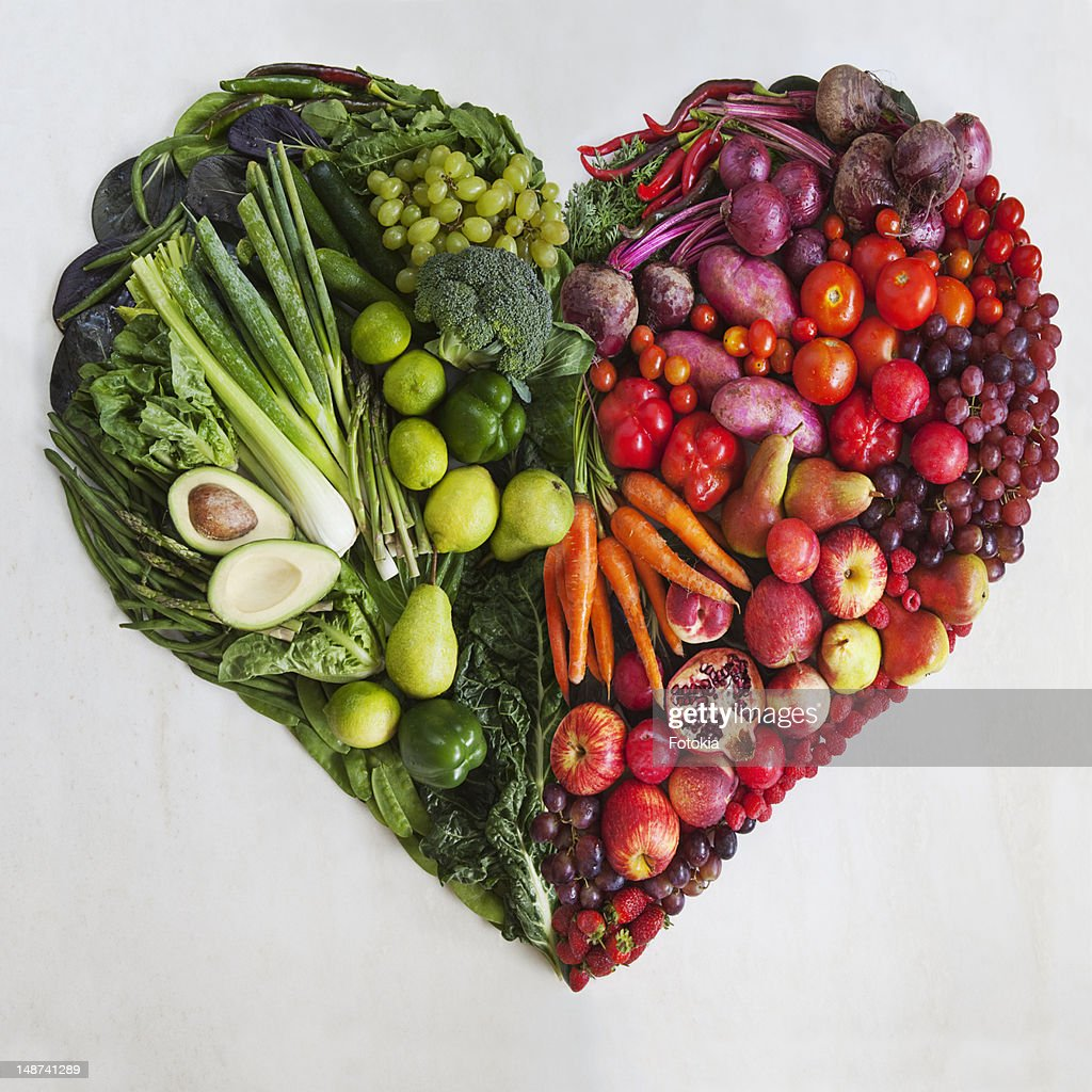 Red & Green Food Heart : Stock Photo