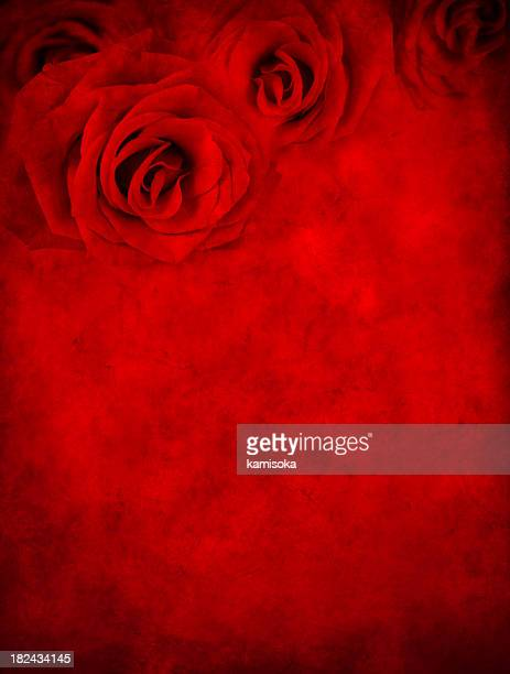 Red Grunge Background With Roses
