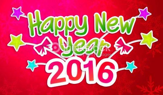 Red Frohes Neues Jahr 2016 Begrüßung Kunst Papierkarte Stock-Foto ...