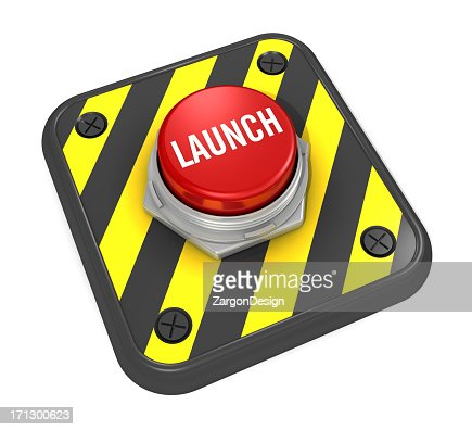 A red hazard launch button in bright white letters