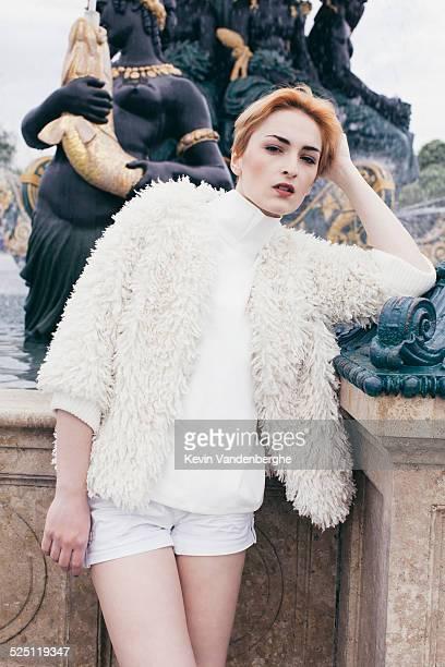 Red head girl posing in paris