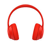Red Headphones isolated on white background. 3D render